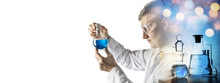 Silhouette Of A Chemist Conducting Experiments On The Background Of Scientific Glassware. Concept On Education, Chemistry And Science Topics. Chemical Background.