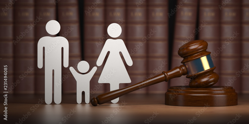 Fototapety, obrazy: Familty law. Gavel and shapes of men, women and child with books.