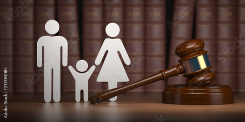 Familty law. Gavel and shapes of men, women and child with books. Wallpaper Mural