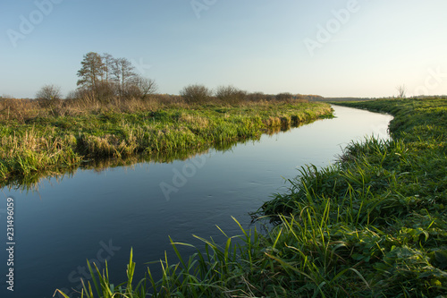 Spoed Foto op Canvas Bleke violet Green grassy shore and calm river.