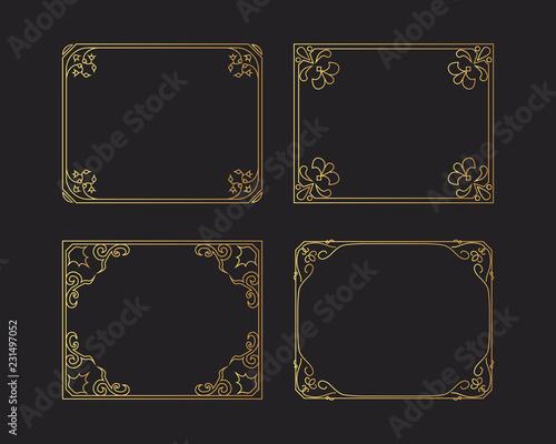 Photo  Vintage golden rectangular hand drawn frames set, vector isolated glitter flourish design elements