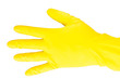 Leinwanddruck Bild - A hand in a yellow latex glove on a white background demonstrates two spread fingers. Hand in a yellow rubber glove with fingers splayed.