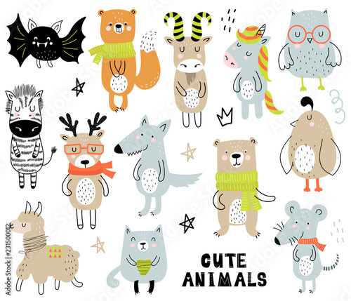 Pinturas sobre lienzo  Vector poster with cartoon animals for kids