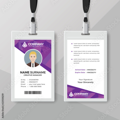 Corporate ID card template with geometric style - Buy this stock ...