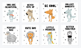 Fototapeta Fototapety na ścianę do pokoju dziecięcego - Vector poster collection with cartoon cute animal and funny slogan in scandinavian style for kids