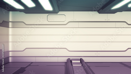 Science background fiction interior room sci-fi spaceship corridors orange ,3D r Canvas Print