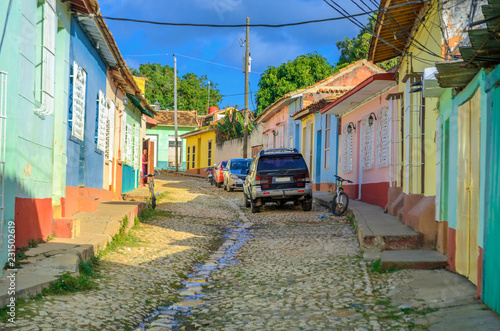 Fotobehang Havana city view, street in the city of Trinidat, Cuban Province