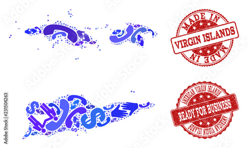 Business Contacts combination of blue mosaic map of American Virgin ...