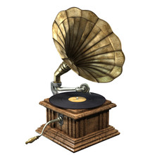 3D Illustration Of Vintage And Classic Gramophone Isolated On White Background
