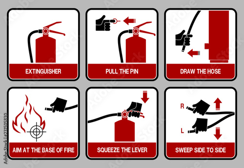 Fotografia, Obraz set of icon for extinguisher user guide