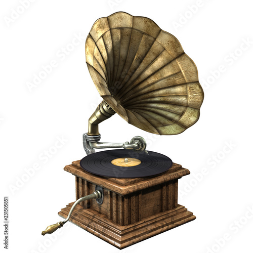 3D illustration of vintage and classic gramophone isolated on white background Canvas Print