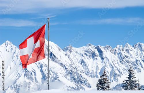 Spoed Foto op Canvas Canada Winter in alps