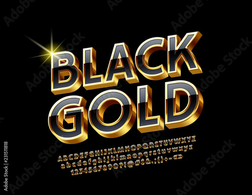 Valokuvatapetti Vector bright Gold and Black Alphabet Letters, Numbers and Symbols