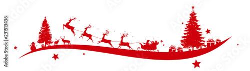 Fotografia Christmas border with Santa's sleigh
