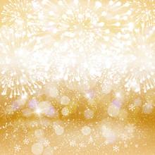 Festive Fireworks On Bright Golden Background. Vector Illustration.