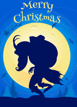 Merry Christmas! Scary Illustration, Krampus Coming To The Town.