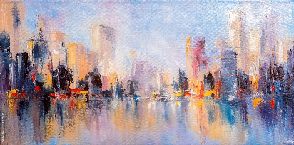 Fototapeta Skyline city view with reflections on water. Original oil painting on canvas,