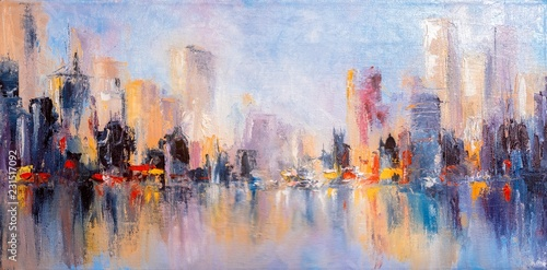 Skyline city view with reflections on water. Original oil painting on canvas, - 231517092