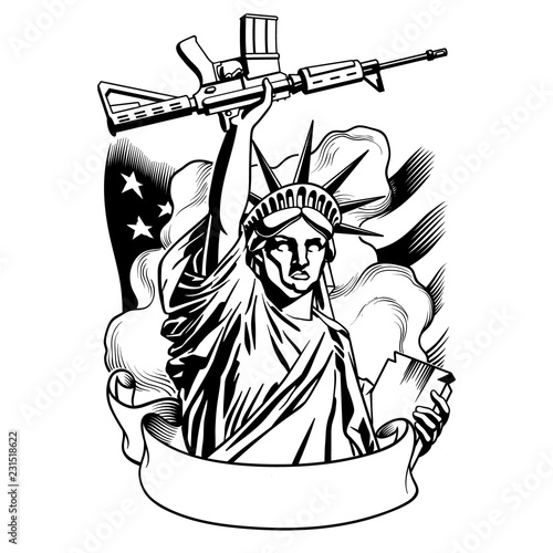 Fotografie, Tablou Statue of liberty with gun