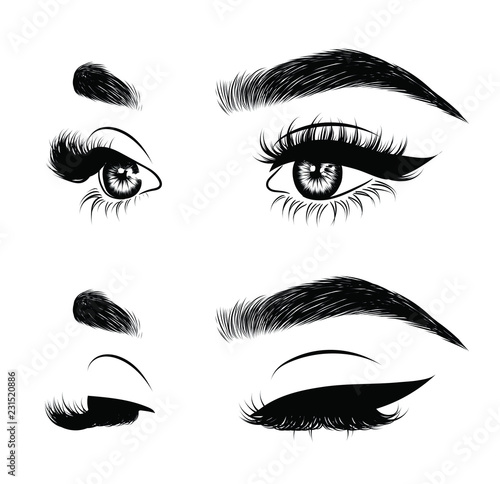 Fotomural Abstract fashion illustration of the eye with creative makeup