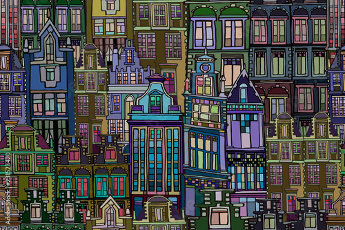 Fotografie, Obraz  Vector seamless pattern with vintage Dutch fictional vintage houses