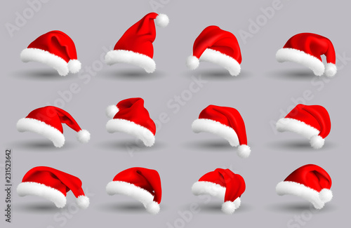 Fototapeta Collection of Red Santa Claus Hats isolated on gray background. Set. Vector Realistic Illustration. obraz