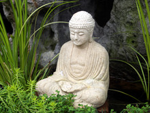 Little White Carved Buddha Statue In Garden