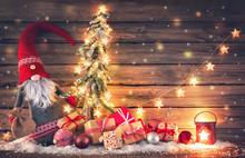 Santa Claus Or Dwarf Holds A F...