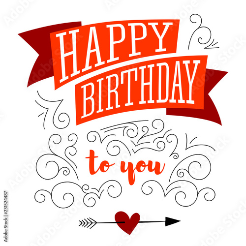 Happy Birthday Design Of Text Lettering On White Background Stylish Greetings Creative Card With Hand Drawn Patterns