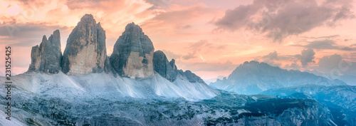 Fotografie, Tablou Mountain ridge view of Tre Cime di Lavaredo, South Tirol, Dolomites Italien Alps