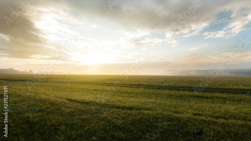 Cadres-photo bureau Miel Beautiful Morning Landscape With Fog In The Meadow. Dawn. Russia, Bashkortostan.