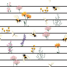 Beautiful Vector Seamless Pattern Hand Drawn Artwork Isolated Garden Wild  Flowers And Insects ,dragonfly With Black  Line