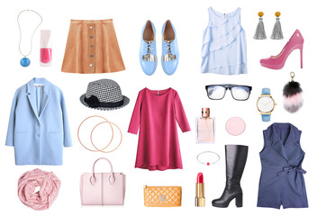 Womens clothes set isolated.Female clothing collage.