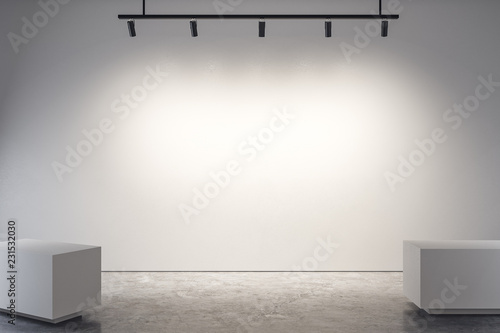 Modern gallery with empty poster Wallpaper Mural