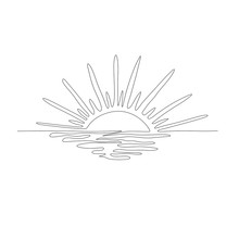 Continuous One Line Drawing. Sunset On The Sea. Vector Illustration.