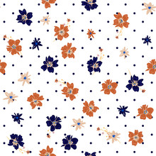 Wild Flowers  In Many Colors Seamless Pattern With  Black Polka Dots On White Background