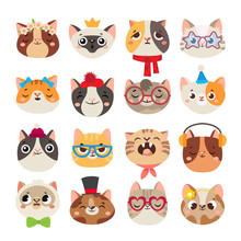 Cute Cats Heads. Cat Muzzle, Domestic Kitty Face Wearing Hat, Scarf And Color Party Glasses Isolated Cartoon Vector Set