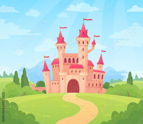 Bajkowy krajobraz z zamkiem. Wieża pałacu fantasy, fantastyczny dom bajki lub magiczne zamki królestwo kreskówka tło wektor