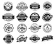 Coffee badges. Cafe logo stamp sticker. Restaurant logotype. Vintage logotype vector isolated illustration