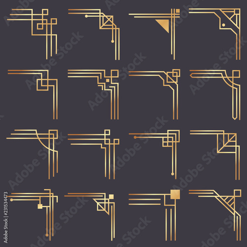 Art deco corner. Modern graphic corners for vintage gold pattern border. Golden 1920s fashion decorative lines frame vector set