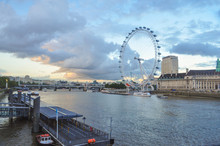 London Eye At Sunset With Tham...
