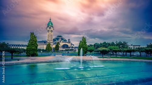 Fotografie, Obraz  gare de Limoges ciel rose