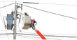 Maintenance service of electricity poles high voltage worker alone with lift truck close up