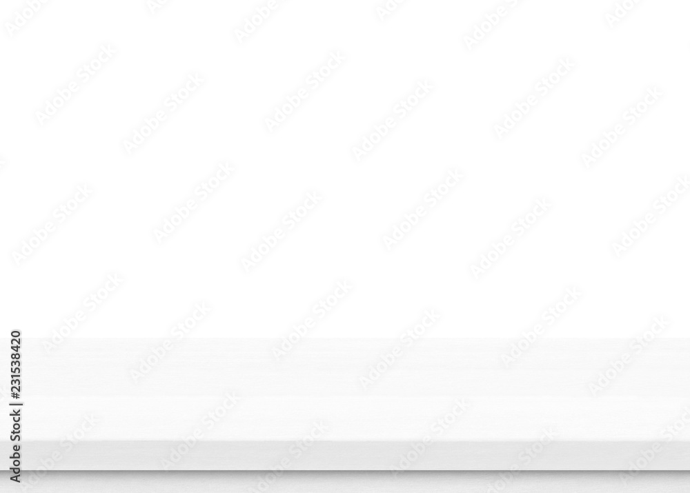 Fototapeta Empty white wood table top isolated on white background