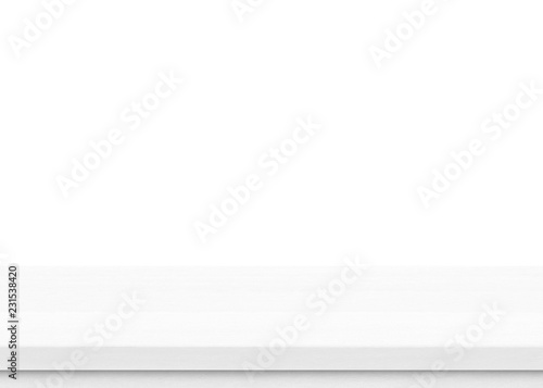 Cuadros en Lienzo  Empty white wood table top isolated on white background