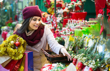 Girl Buying Floral Compositions