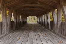 3d Rendering Of An Old Covered Wooden Bridge In Front Of Forest