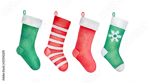 Obraz na plátne Set of traditional Christmas stockings