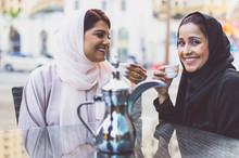 Two Arabian Girls Spending Time Togehter Outdoor Making Activities