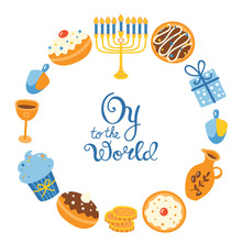 Jewish Holiday Hanukkah Greeting Card Design. Vector Illustration